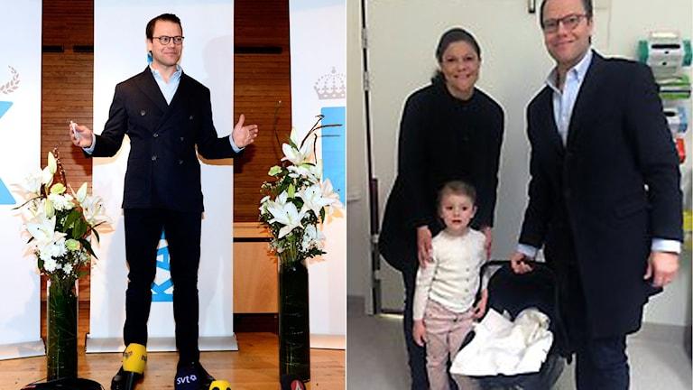 Prins Daniel visar med händerna hur lång prinsen är. Kronprinsessan Victoria, prins Daniel och prinsessan Estelle tillsammans med den nyfödde prinsen i babylift.