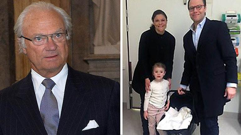 Kung Carl Gustaf och Prinsessan Victoria med familj.