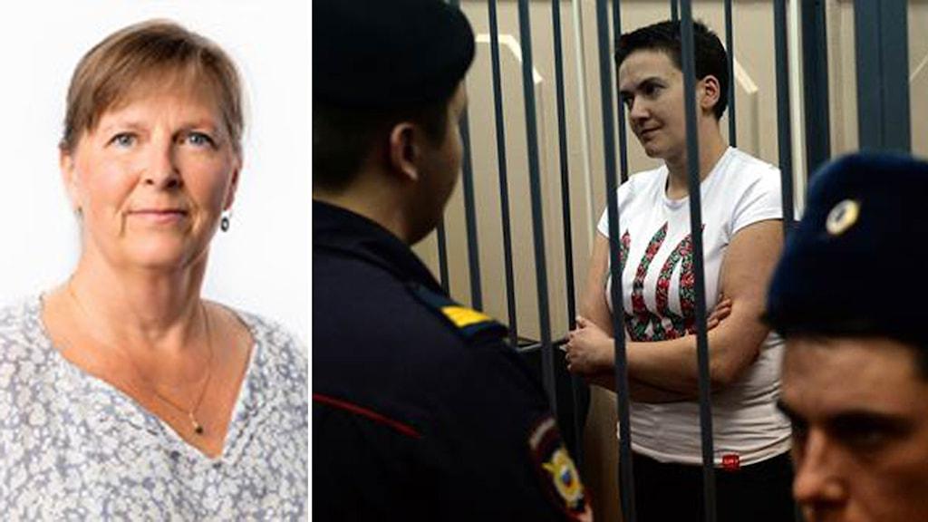 Maria Persson om den fängslade ukrainka piloten Foto: Krill Zykov/TT och Sveriges Radio