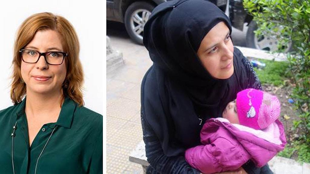 Ekots Katja Magnusson är på plats i  Damaskus. Eldupphör har blivit ett andrum för Rula som är i lekparken med sin son Louis . Foto: Sveriges radio