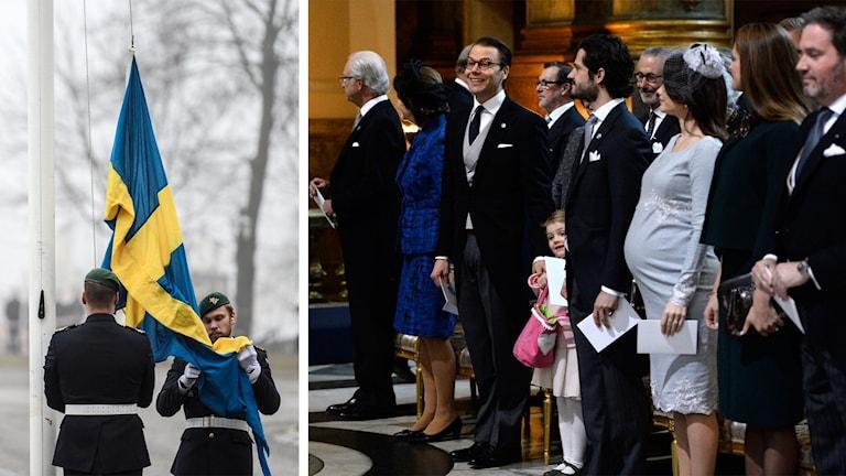 Svensk flagga och kungafamiljen.
