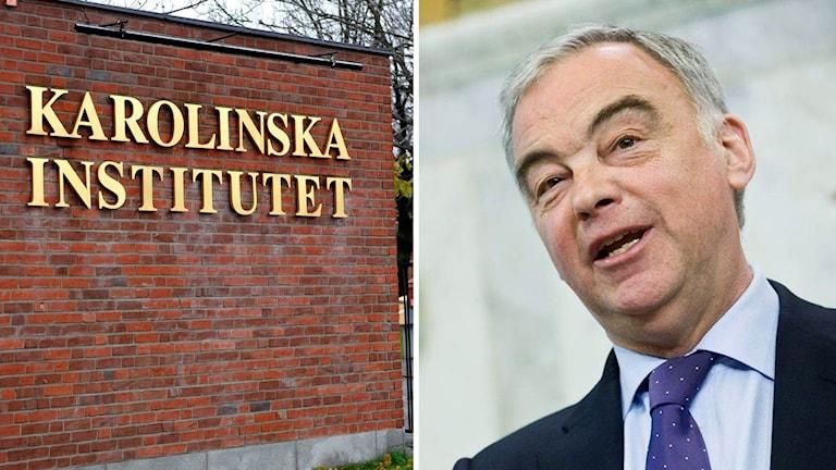 Bild på Karolinska Institutet-skylt och på Lars Leijonborg.