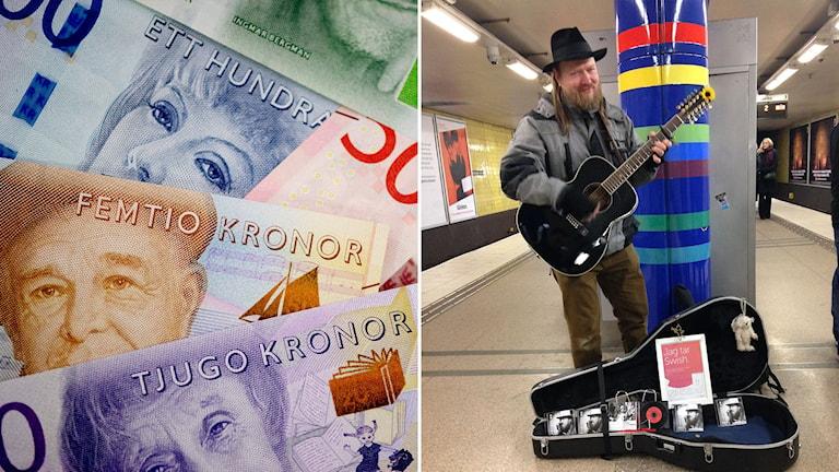 """Delad bild: sedlar och gatumusikant med öppet gitarrfodral och en skylt med texten """"Jag tar Svisch""""."""