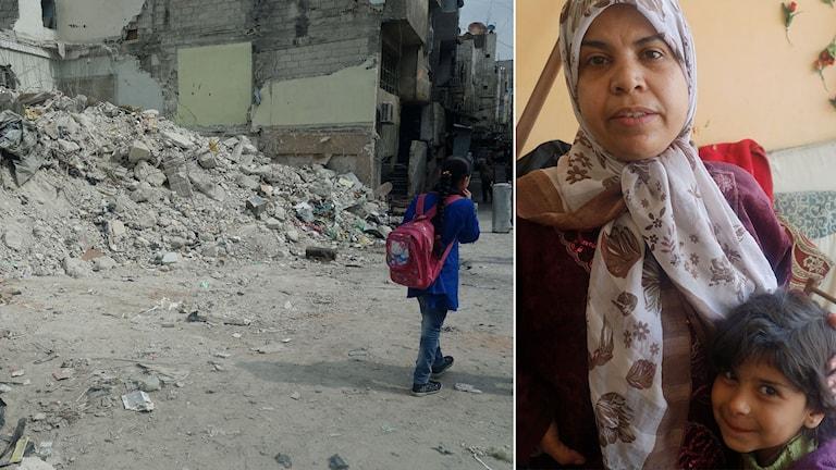 Delad bild: Raserat hus, Kvinna som håller om sitt barn