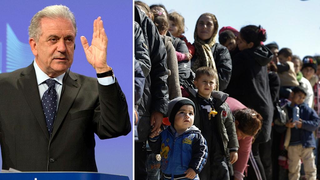 EU:s flyktingkommissionär Dimitris Avramopoulos och flyktingar i grekland.