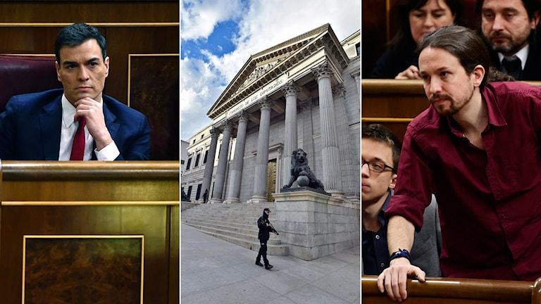 Tredelad bild: man som tar sig på hakan, spanska parlamentet, man som lutar sig fram.