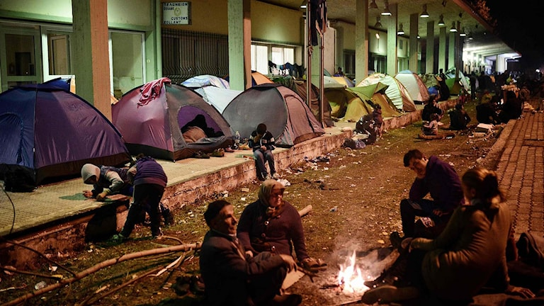 Migranter i norra Grekland.