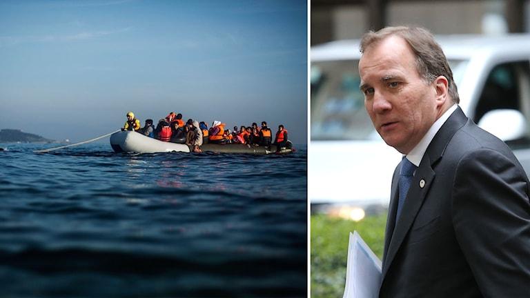 Delad bild: flyktingbåt och Stefan Löfven