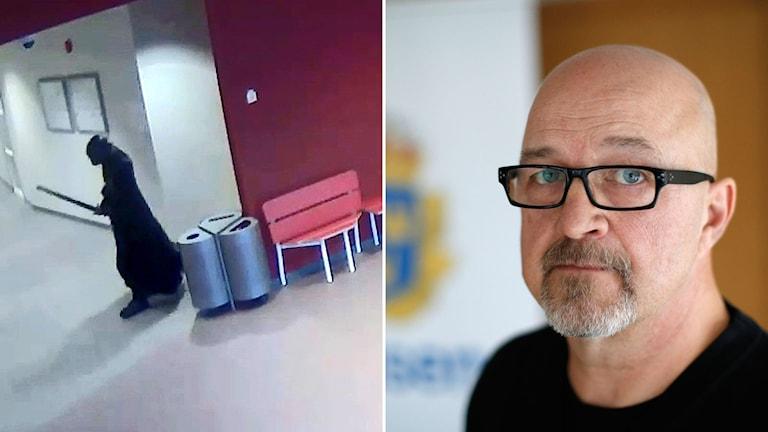 övervakningsbild från kronansn skola och man med blå ögon och glasögon