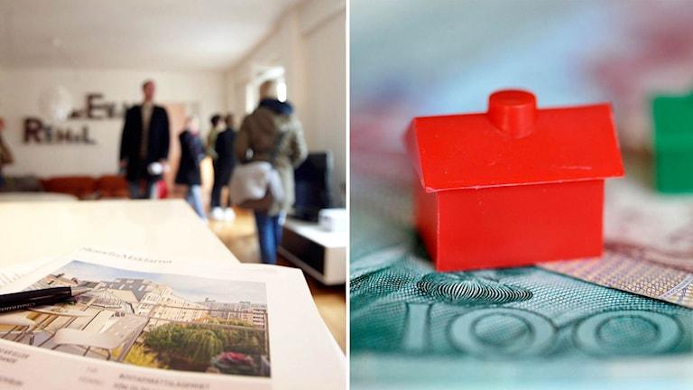 FOlk på bostadsvisning. och pengar med ett monopolhus på.
