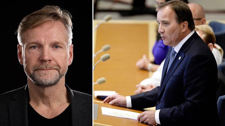 Ekots inrikespolitiske kommentator Tomas Ramberg och statsminister Stefan Löfven.