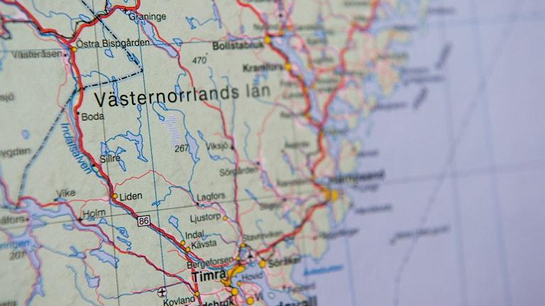 Karta över Västernorrlands län.