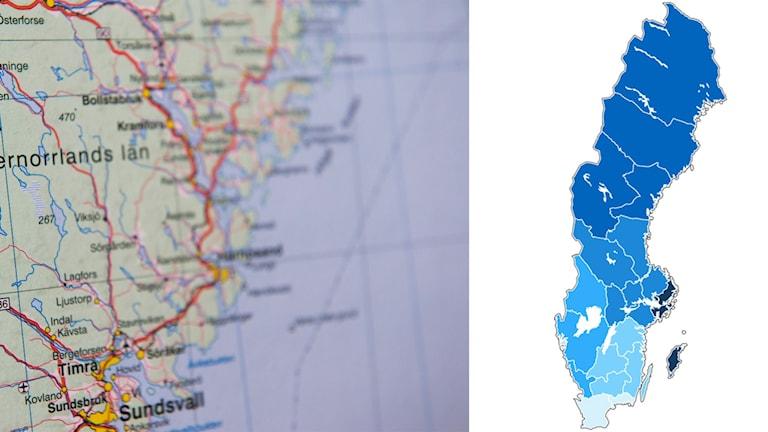 Grafiken till höger illustrerar de nya regionerna efter färgskala.