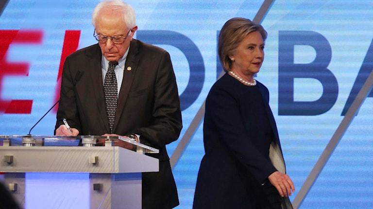 Presidentkandidaterna Bernie Sanders och Hillary Clinton.