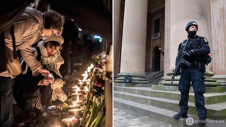 Beväpnad polis utanför köpenhamns tingrätt och folksamling som lämnar blommor utan för synagogan i köpenhamn