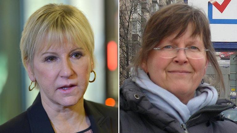 Margot Wallström (left) reacts to the attack on SR correspondent Maria Persson Löfgren (right). Photo: TT/SR.