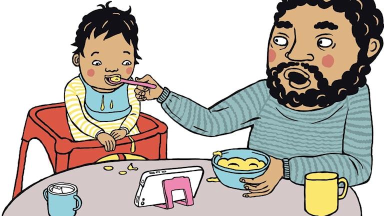 illustration av barn som blir matad av förälder och samtidgit kollar på surfplatta