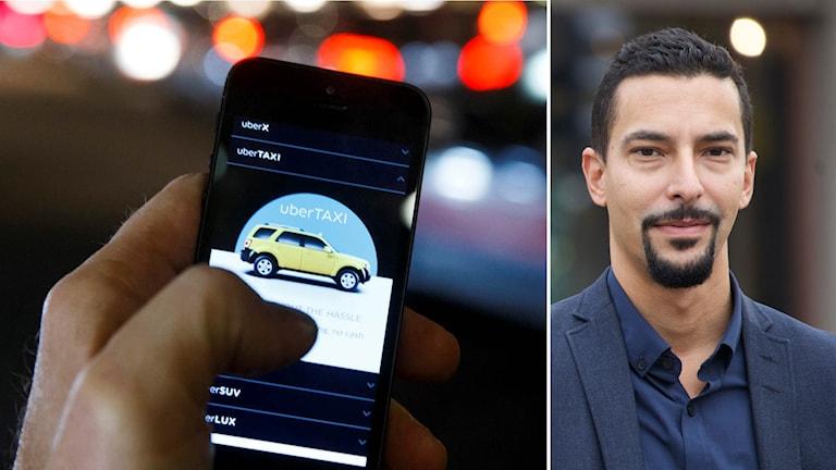 Markus Pettersson, förbundssekreterare på Transportarbetarförbundet, till höger och Uber-appen till vänster.
