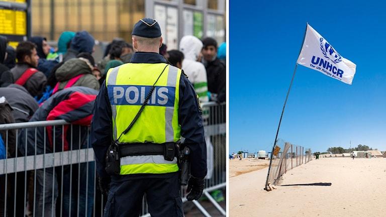 Bildmontage polis flyktingar och UNHCR flagga