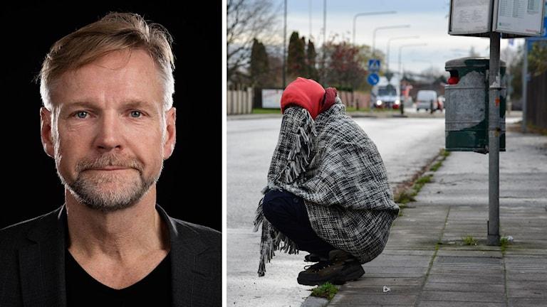 Ekot Tomas Ramberg i bildmontage med flykting på gatan i Malmö.