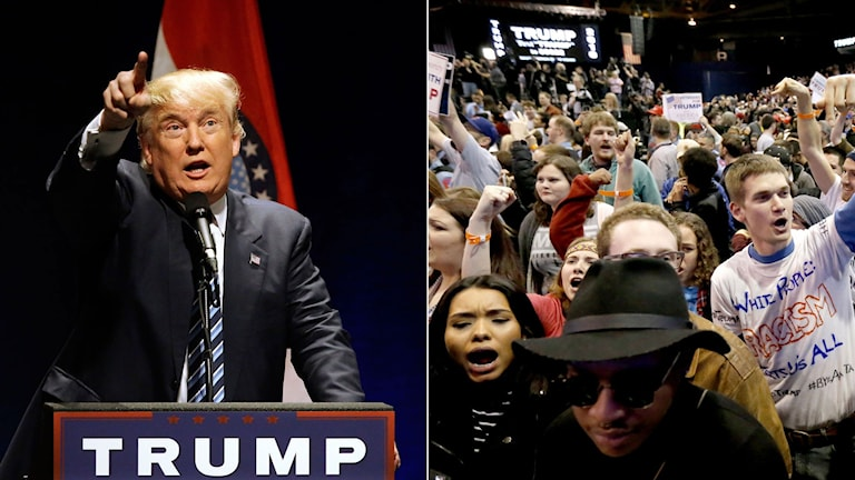 Affärsmannen Donald Trump håller ett tal i samband med valmöte. Demonstranter skriker och protesterar mot Trump.