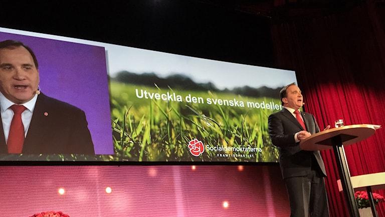 Löfven på Socialdemokraternas kommunkonferens. Foto: Per Knutsson/TT