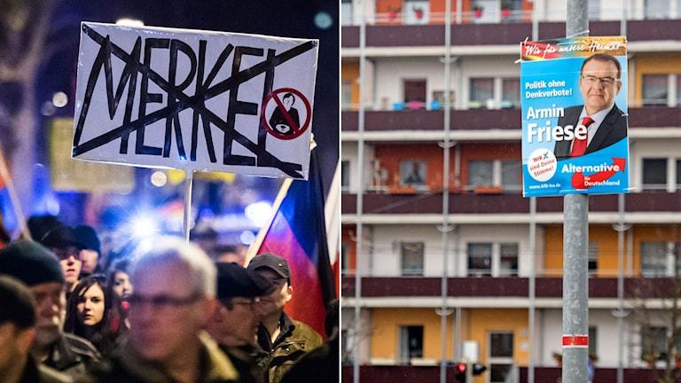 """Tidigare demonstration i regi av partiet """"Alternativ för Tyskland"""". Valaffisch för AfD."""