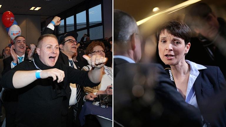 Frauke Petry partiledare för AFD i Tyskland och medlemmar i partiet firar valframgångar.