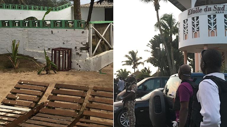 Bilder från två av de tre hotell som attackerades igår