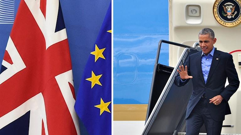 Barack Obama Union Jack och EU-flagga