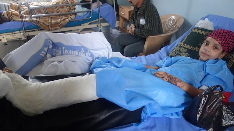 12-åriga Rana Hussein skadades i ett bombdåd i södra Damaskus.