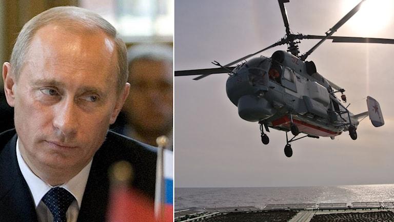 Putin och en helikopter