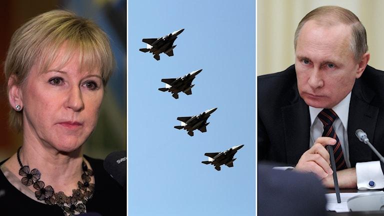 Delad bild: Margot Wallström, stridsflygplan, och Vladimir Putin