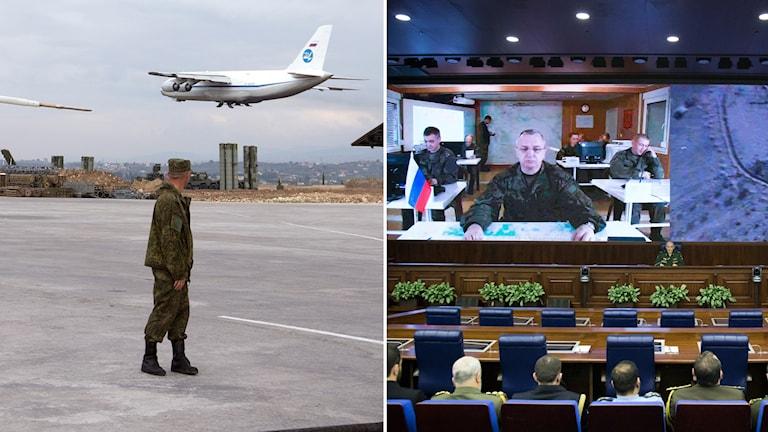 Soldat som ser flygplan lämna och en videokonferens med rysk militär.
