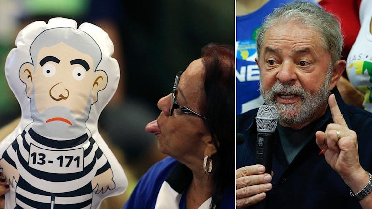 Kvinna räcker ut tungan till en uppblåsbar figur liknande Lula i fångdräkt.