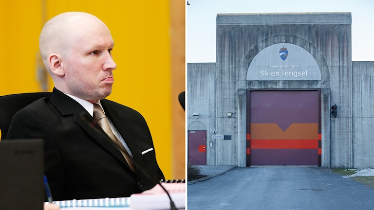 Man med rakat huvud framför gul vägg. Fängelseport och fängelsemur.