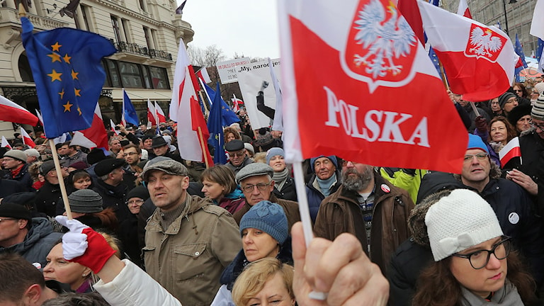 Demonstration i Warsawa, Polen.