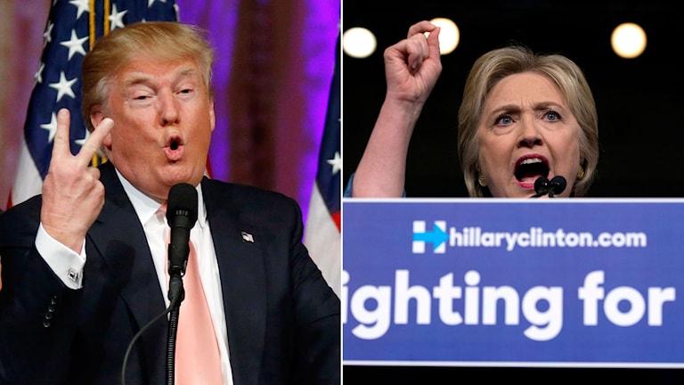 Republikaneras aspirant gör V-tecken under sitt tal. Demokraternas Hillary Clinton håller tal.