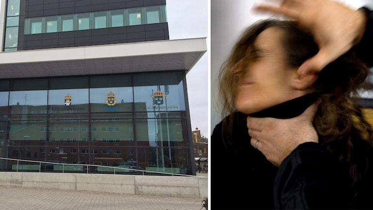 Polisen i Halland till vänster. Illustration av kvinnomisshandel till höger.