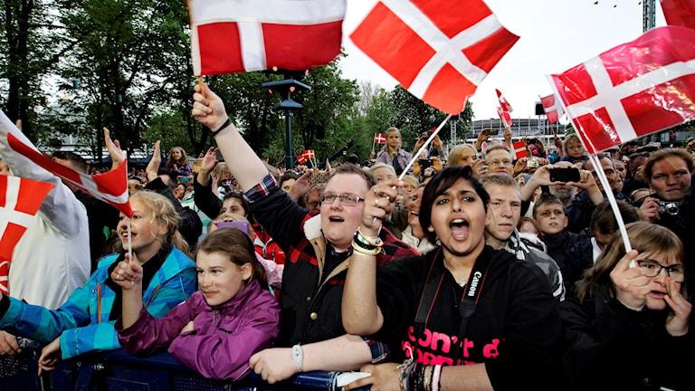 En folksamling med glada människor som viftar med danska flaggor.