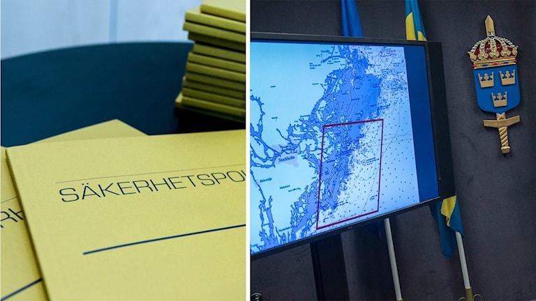 Säpos årsbok. Till höger en skärgårdskarta över misstänkt underrättelseverksamhet i Stockholms skärgård.