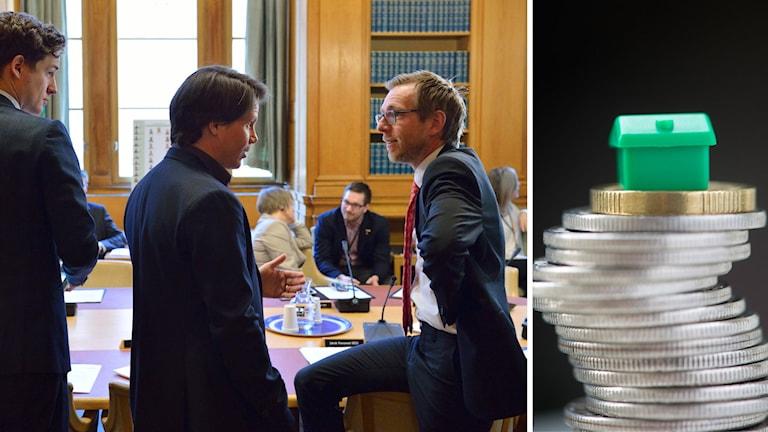 Emil Källström (C), Erik Ullenhag (FP) och Jakob Forssmed (KD), under tisdagens möte i riksdagens Finansutskott.