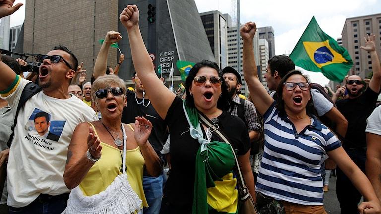 Människor som demonstrerar, Brasiliens flagga.