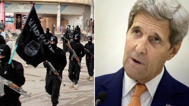 IS-krigare i montage med USA:s utrikesminister John Kerry