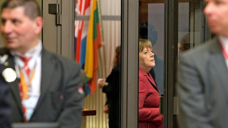 Angela Merkel vid EU-mötet i Bryssel natten mot 18 mars 2016.