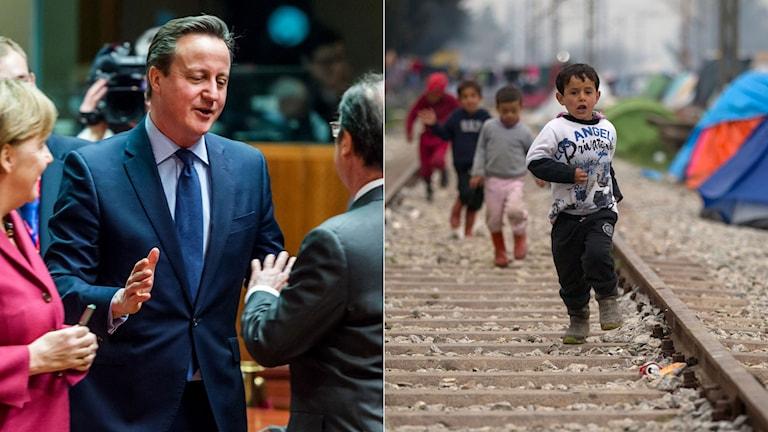 Angela Merkel, David Cameron samtalar i samband med EU-toppmötet. Flyktingpojkar springer längs ett järnvägsspår i norra Grekland.