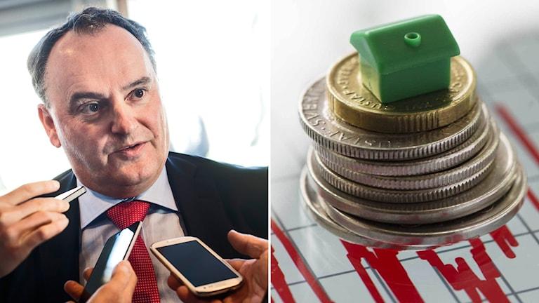 Vice riksbankschef Henry Ohlsson i montage med enkronor och monopolhus
