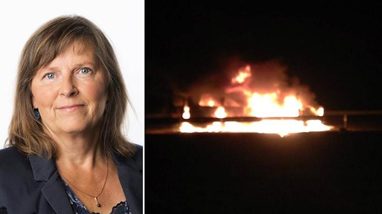 Maria Persson Löfgren och en buss i lågor.