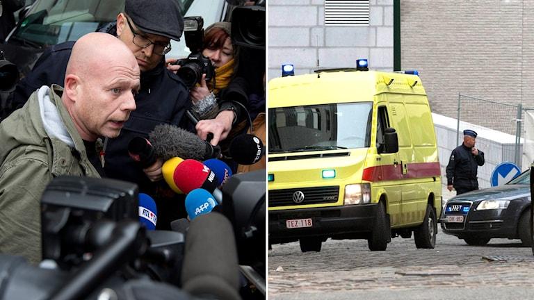 Advokad Sven Mary framför hav av mikronfoner i montage med ambulans och polisman