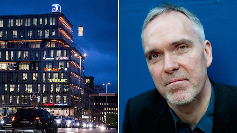 Delad bild: Tidningskoncernen Schibsteds hus och Jon Karlung.